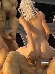 Space 3D fucking with two ugly giants