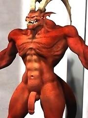 Terrific red devil drills a 3D beauty