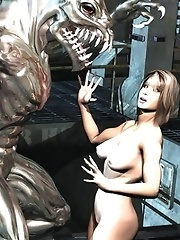 3D Aliens fuck space hotties
